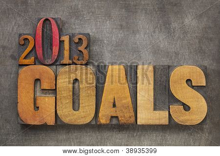 2013 goals - New Year resolution concept - text in vintage letterpress wood type blocks against grunge metal background