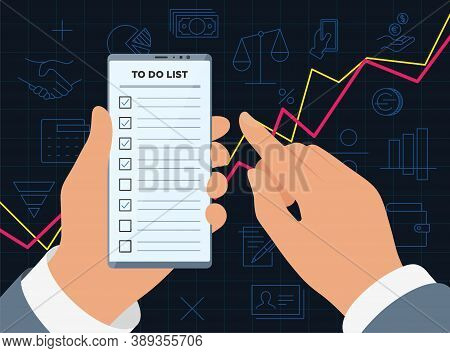 Businessman Hands Hold Smartphone With To Do Check List App On Display Screen For Successful Profita