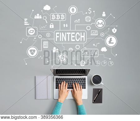 Cryptocurrency Fintech Theme With Person Using A Laptop
