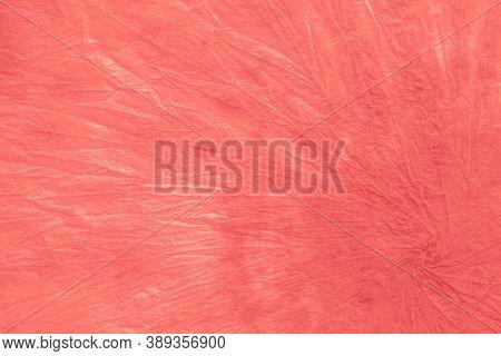 Red Tie Dye Pattern. Crumpled Paper. Watercolor Abstract Print. Romantic Bohemian Texture. Shibori T