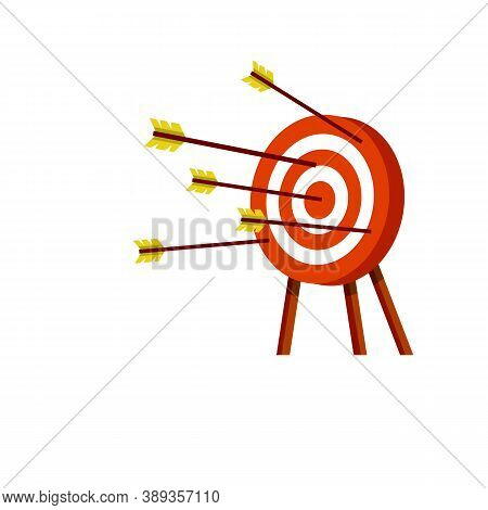 Target For Arrows. Business Concept Several Attempts. Shooting And Championship. Cartoon Flat Illust