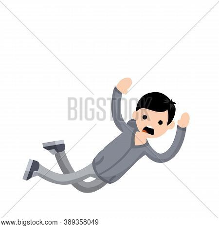Screaming Man Falls From Height. Horror And Fear Of Heights - Phobia Acrophobia. Cartoon Flat Illust