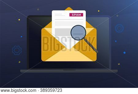 Spam Email Warning, Spam Window vector concept illustration. Laptop with yellow mail envelope, spam alert and warning message. Irrelevant unsolicited malicious software, malware spreading virus, scam, fraud.
