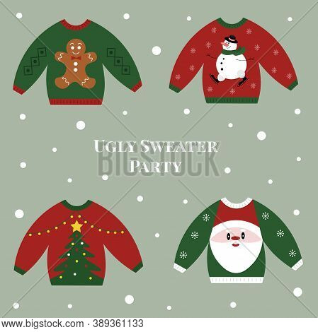 Holiday Clip Art Of Ugly Sweaters For Christmas Party. Christmas Decorations. Vector Illustration.