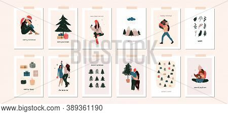 Set Of Christmas New Year Winter Holiday Greeting Cards With Family Kids, Xmas Decoration. Vector Ab