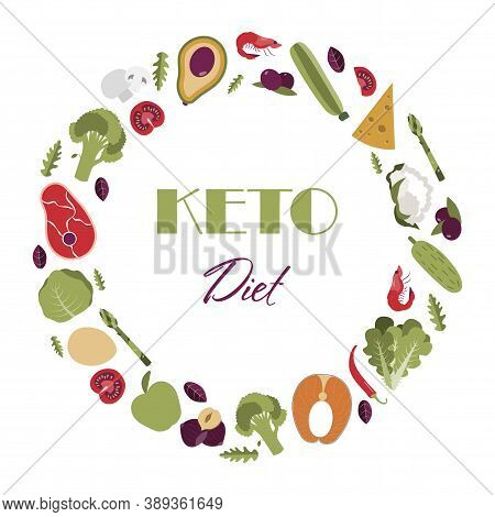 Nutrition On The Keto Diet. Foods Fat, Protein And Carbohydrates For A Healthy Diet According To The