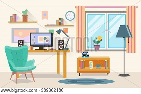 Vector Flat Illustration Of Modern Office, Workspace, Workplace With Computer In Room. Eps