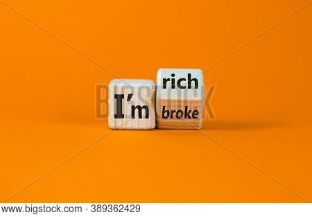 Turned A Cube And Changed The Expression 'i Am Broke' To 'i Am Rich', Or Vice Versa. Beautiful Orang