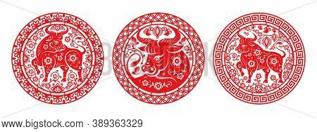 Metal Ox Chinese New Year Symbol In Peonies Isolated Set Of Circles. Vector Cny 2021 Mascot In Round