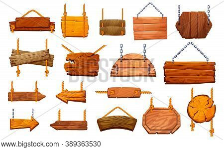 Set Of Wooden Pillars Signboards Hanging On Ropes And Metal Chains Isolated. Vector Information Post