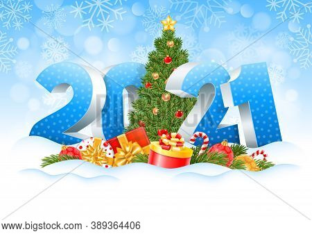 New Year 2021. Three Dimensional Digits 2021 And Decorated Christmas Tree, Gifts, Spruce Branches, C
