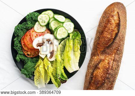 Fresh Baguette And Vegetable Slices, Tomatoes, Cucumber, Romano Lettuce Leaves, Mushrooms For Making