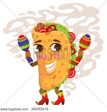 Cartoon Color Character Tacos Traditional Mexican Food Concept Flat Design Style. Vector Illustratio