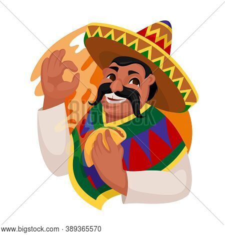 Cartoon Color Character Person Man Eating Taco Mexican Food Concept Flat Design Style. Vector Illust