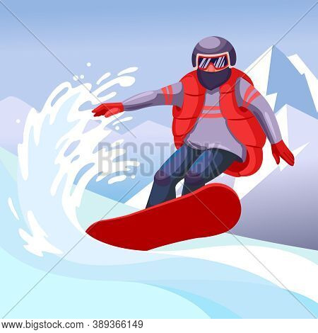 Cartoon Color Character Person Man And Snowboarding Extreme Sport Concept Flat Design Style. Vector