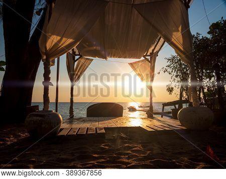 Thailand beach bar at sunset in Khao Lak