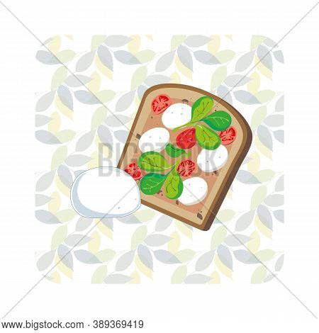 Vector Illustration Of A Sandwich With Tomatoes, Mozzarella And Salad. Toast. Fast Food