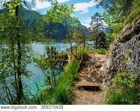 Hiking The Gaisalmsteig On Lake Achensee In Tyrol In Early Summer