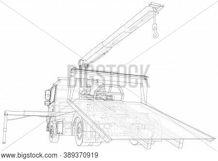 Tow Truck Vector. Towing Car Trucking Vehicle Transportation Towage. Help On Road. Wire-frame. The L