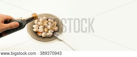 Isolated Traditional Russian Pelmeni, Ravioli, Dumplings With Meat And Soy Sauce On White Background
