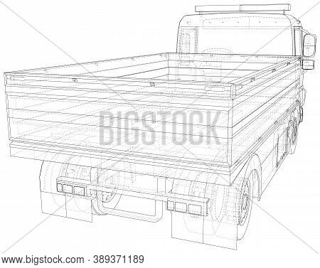 Flatbed Truck Vector Illustration. Wire-frame Line Isolated. Vector Rendering Of 3d