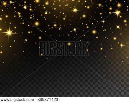 Celebration Background. Glowing Gold Light Frame. Golden Glitter Banner. Christmas Bright Design. Lu