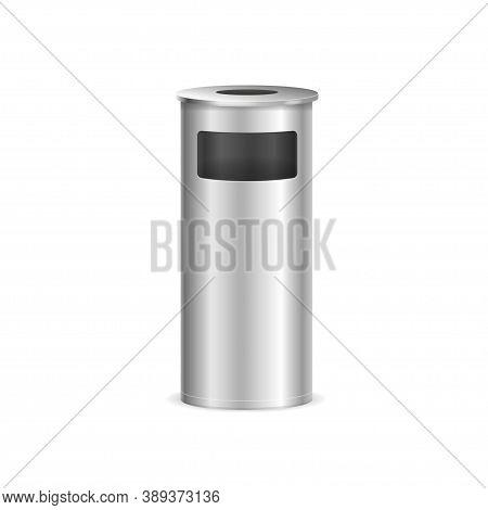 Realistic Detailed 3d Metal Trash Bin For Different Garbage. Vector Illustration Of Metallic Trashca