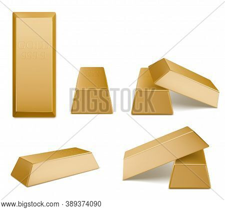 Gold Bars, Vector Golden Bricks, Yellow Precious Metal Bullion Blocks Of Highest Standard. Money Inv