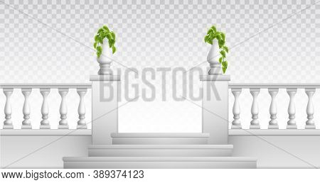 Transparent Background With Outdoor And Vintage Park Elements So As Stair Balustrade Decorative Vase