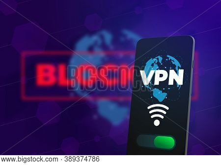 Vpn - Virtual Private Network Business Illustration. Cyber Security Privacy Data Encryption Concept.