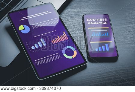 Business Analysis with charts and graphs. Business Analysis on mobile phone and tablet screen. Financial Marketing Dashboard Graphics with business analysis social network diagram. Analysis Business Accounting and Statistics Concept.