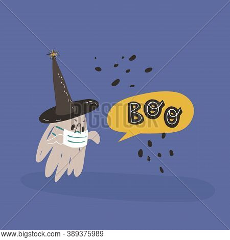 Funny Ghost In Witch Pointed Hat And Face Medical Mask With Hands Up Frightens Somebody And Screams