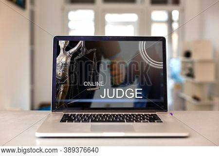 Law Online On A Laptop Screen. Lawyer And Law, Judiciary And Legislature Courtroom Legal Online Conc