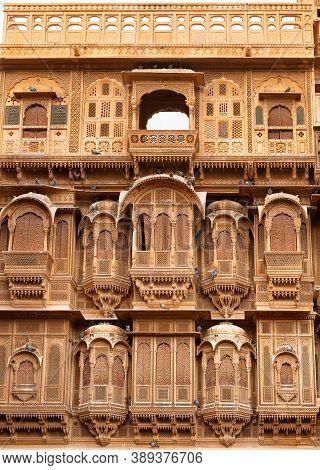 Exterior Of Patwon Ki Haveli In Jaisalmer, Rajasthan State Of India. A Haveli Is A Traditional Townh