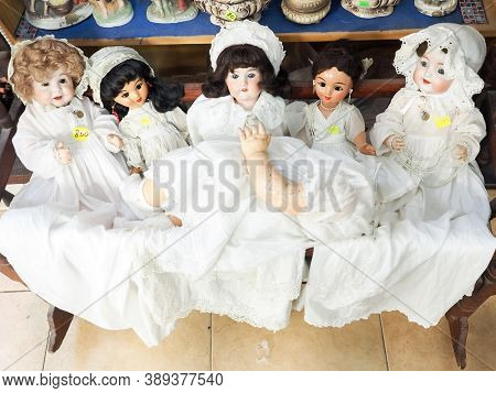 Tel Aviv, Israel - February 4, 2017: Old Different Dolls For Sale At A Flea Market In The Old City O