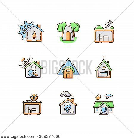 Human Shelters Rgb Color Icons Set. Temporary Residence For Homeless People. Night Time Shelter Oppo
