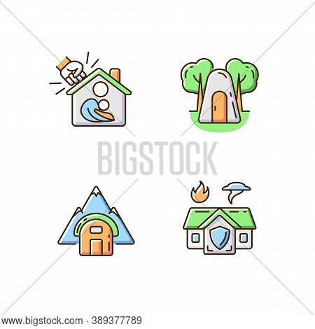 Temporary Safe Residence Rgb Color Icons Set. Domestic Violence And Abuse Victims Support. Single-pe