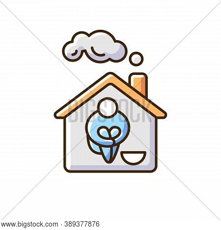 Homeless Shelter Rgb Color Icon. Temporary Residence For Homeless Individuals And Families. Safety A