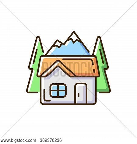 Bothy Rgb Color Icon. Mountain Cabin. Wilderness Hut. Hiking And Mountain Recreation. Traveling. Eco