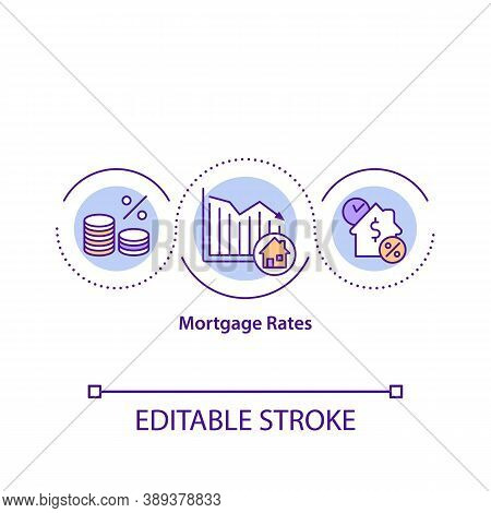Mortgage Rates Concept Icon. Current Average Diagram. Lender Percents. Fixed And Adjustable Rate Tre