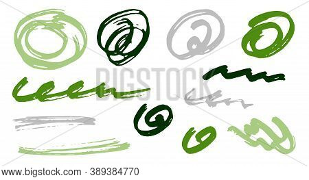 Simple Scribble Doodle Graphic Design Vector Elements.  Cartoon Marker Traces. Ink Brush Strokes, Ro