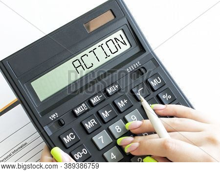 A Calculator With Text Action On The Display