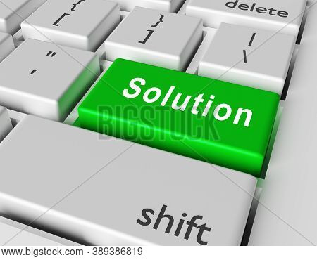 Solution Concept. Word Solution On Button Of Computer Keyboard. 3d Rendering