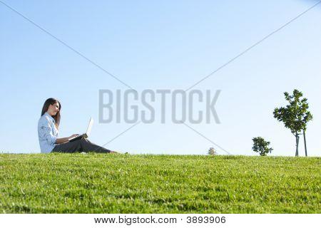 Деловая женщина на ноутбуке в поле