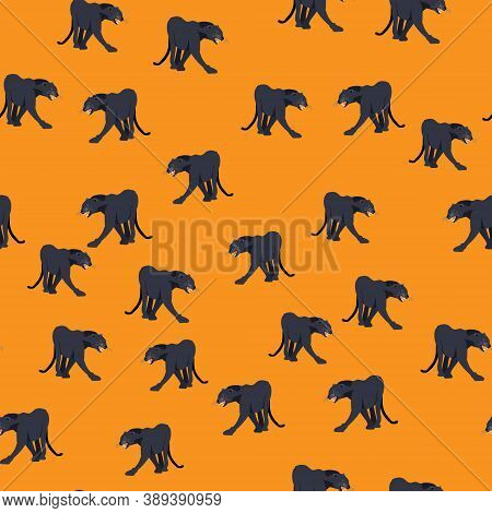 Seamless Pattern Black Jaguar Puma Lion Panther. Vector Illustration. Animal