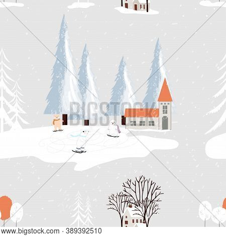 Seamless Small Village In Christmas Eve With Polar Bear Playing Ice Skate In Park,endless Pattern Wi