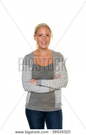 a young and friendly woman stands in front of white background. half figure. symbolic picture for today's youth