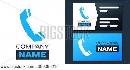 Logotype Telephone Handset Icon Isolated On White Background. Phone Sign. Call Support Center Symbol