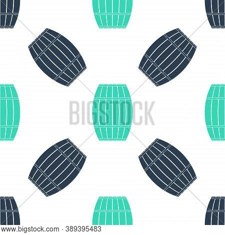 Green Wooden Barrel Icon Isolated Seamless Pattern On White Background. Alcohol Barrel, Drink Contai