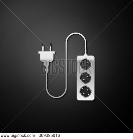 Silver Electric Extension Cord Icon Isolated On Black Background. Power Plug Socket. Long Shadow Sty